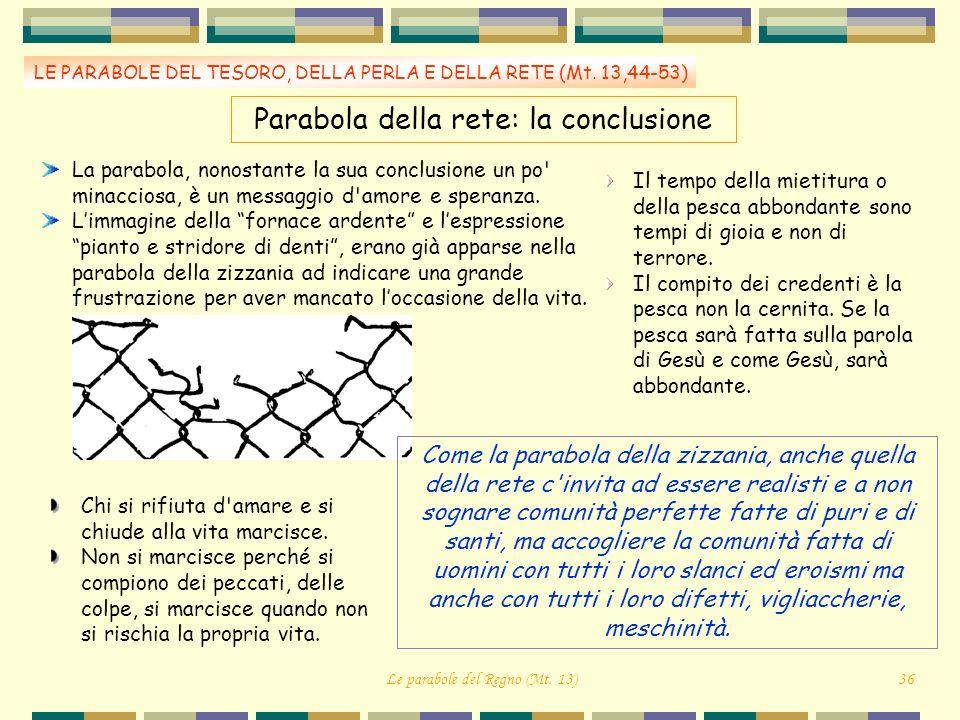 LE PARABOLE DEL TESORO, DELLA PERLA E DELLA RETE (Mt. 13,44-53) Parabola della rete: la conclusione La parabola, nonostante la sua conclusione un po'