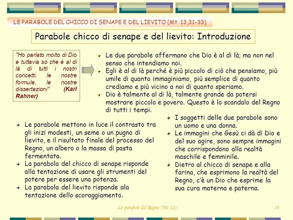 LE PARABOLE DEL CHICCO DI SENAPE E DEL LIEVITO (Mt. 13,31-33) Parabole chicco di senape e del lievito: Introduzione