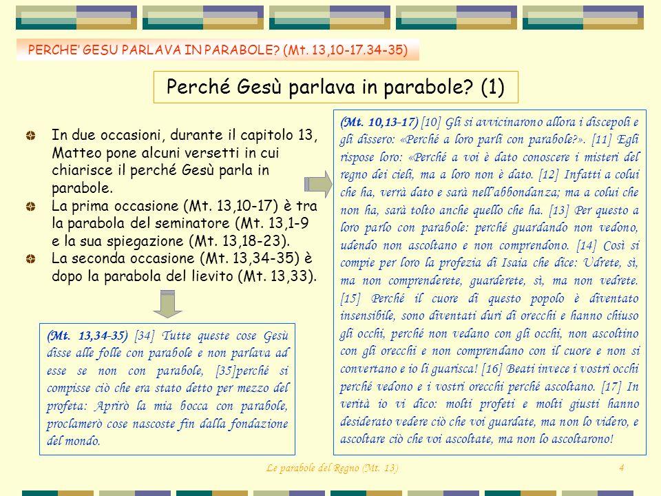 Perché Gesù parlava in parabole? (1) PERCHE GESU PARLAVA IN PARABOLE? (Mt. 13,10-17.34-35) In due occasioni, durante il capitolo 13, Matteo pone alcun