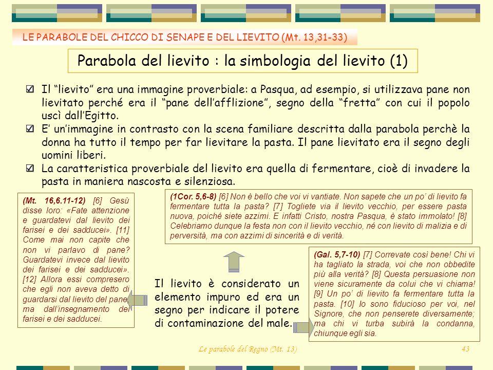 LE PARABOLE DEL CHICCO DI SENAPE E DEL LIEVITO (Mt. 13,31-33) Parabola del lievito : la simbologia del lievito (1) Il lievito era una immagine proverb