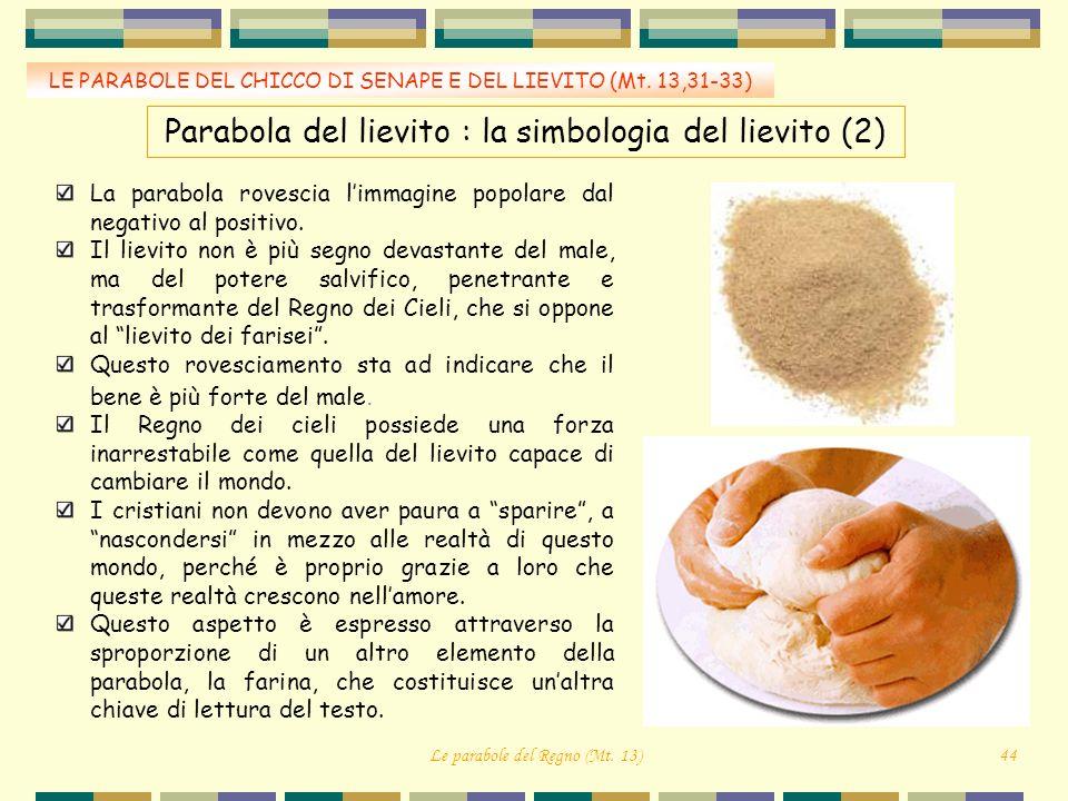 LE PARABOLE DEL CHICCO DI SENAPE E DEL LIEVITO (Mt. 13,31-33) La parabola rovescia limmagine popolare dal negativo al positivo. Il lievito non è più s