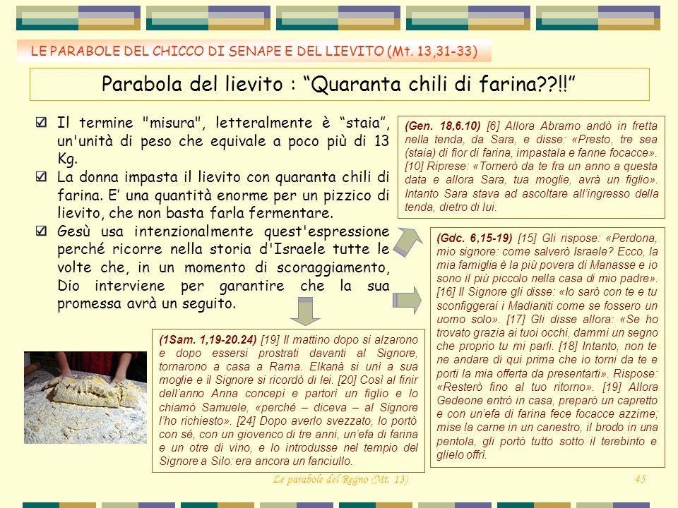 LE PARABOLE DEL CHICCO DI SENAPE E DEL LIEVITO (Mt. 13,31-33) Parabola del lievito : Quaranta chili di farina??!! Il termine