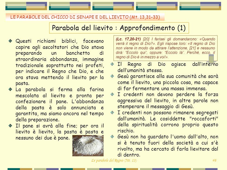LE PARABOLE DEL CHICCO DI SENAPE E DEL LIEVITO (Mt. 13,31-33) Parabola del lievito : Approfondimento (1) Questi richiami biblici, facevano capire agli