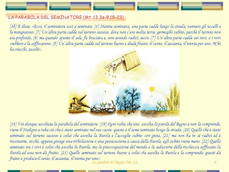 LA PARABOLA DEL SEMINATORE (Mt. 13,3a-9.18-23) Le parabole del Regno (Mt. 13)8 [3b] E disse: «Ecco, il seminatore uscì a seminare. [4] Mentre seminava