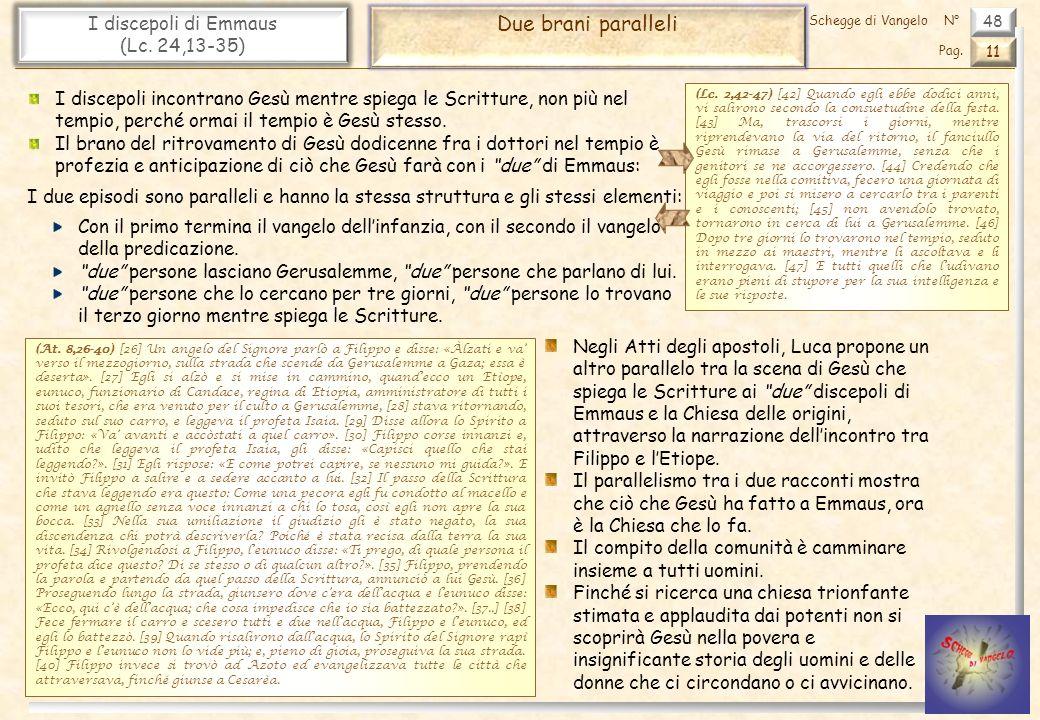 48 I discepoli di Emmaus (Lc. 24,13-35) Due brani paralleli 11 Pag. Schegge di VangeloN° I discepoli incontrano Gesù mentre spiega le Scritture, non p