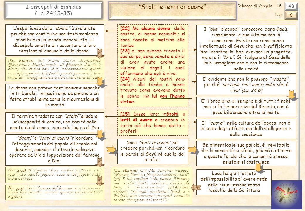 48 I discepoli di Emmaus (Lc. 24,13-35) Stolti e lenti di cuore 6 Pag. Schegge di VangeloN° [22] Ma alcune donne, delle nostre, ci hanno sconvolti; si