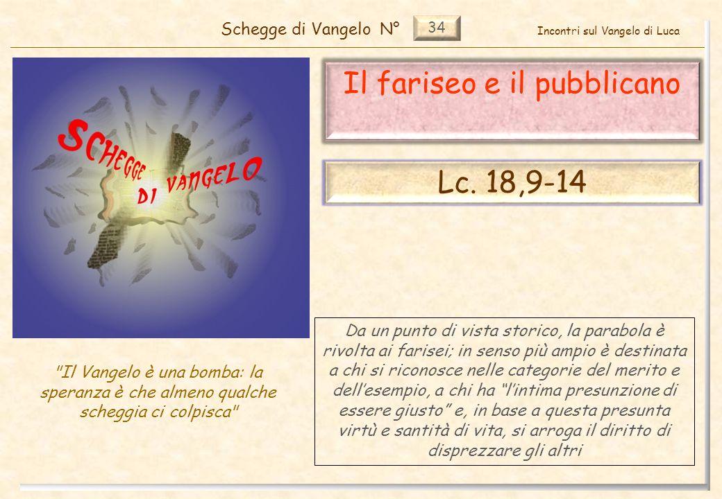 34 Il fariseo e il pubblicano Schegge di VangeloN° Il Vangelo è una bomba: la speranza è che almeno qualche scheggia ci colpisca Lc.