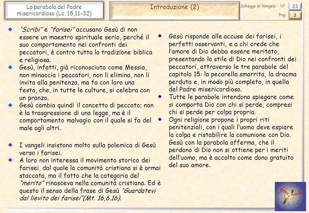 33 La parabola del Padre misericordioso (Lc. 15,11-32) Introduzione (2) 3 Pag. Schegge di VangeloN° Scribi e farisei accusano Gesù di non essere un ma