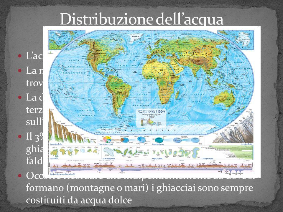 Lacqua ricopre i ¾ della superficie della terra La maggior parte 97% è costituito da acqua salata e si trova distribuita nei mari e negli oceani La di