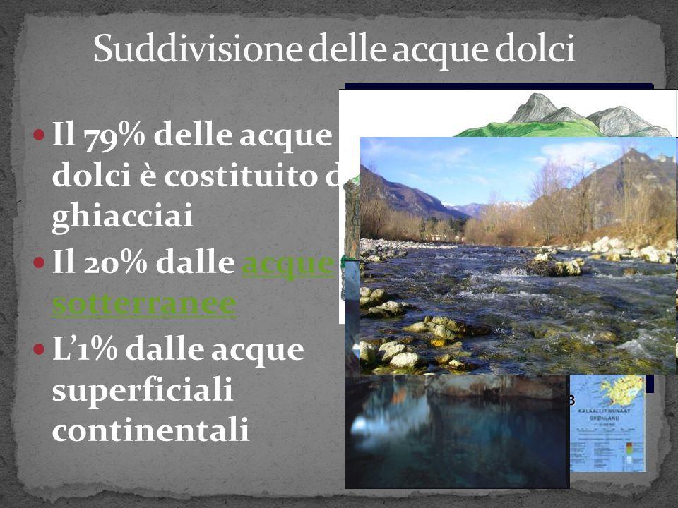 Il 79% delle acque dolci è costituito da ghiacciai Il 20% dalle acque sotterranee L1% dalle acque superficiali continentali