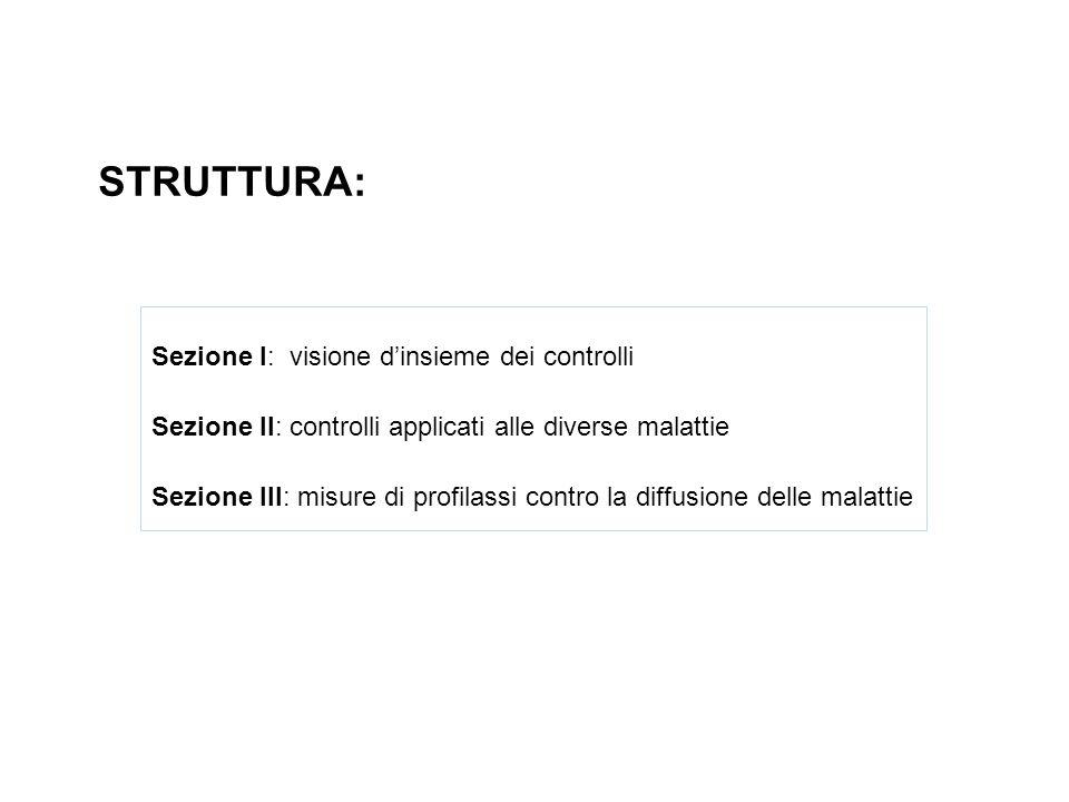 STRUTTURA: Sezione I: visione dinsieme dei controlli Sezione II: controlli applicati alle diverse malattie Sezione III: misure di profilassi contro la