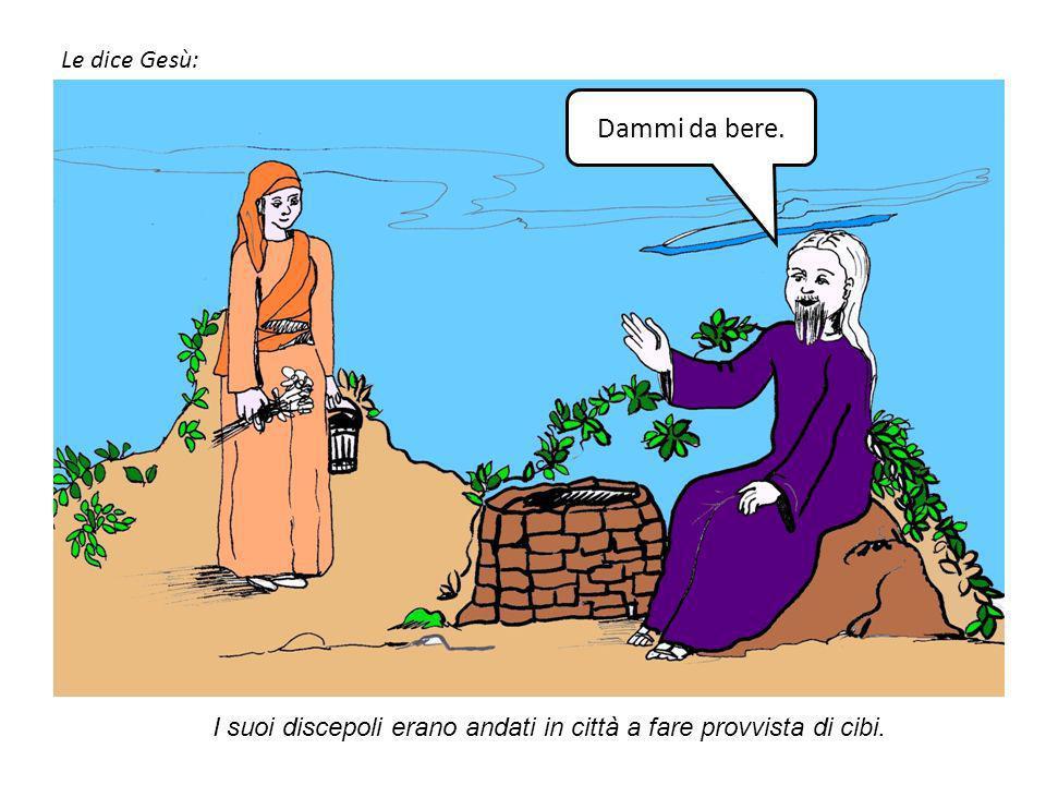 Gesù dunque, affaticato per il viaggio, sedeva presso il pozzo. Era circa mezzogiorno. Giunge una donna samaritana ad attingere acqua.