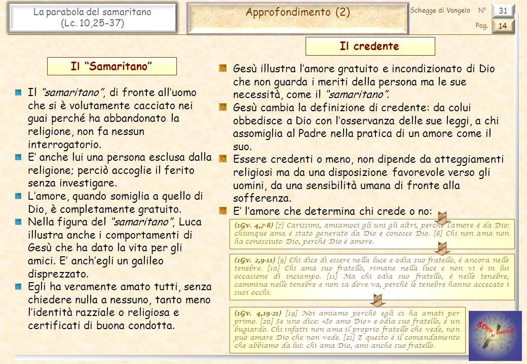 31 La parabola del samaritano (Lc.10,25-37) Approfondimento (2) 14 Pag.