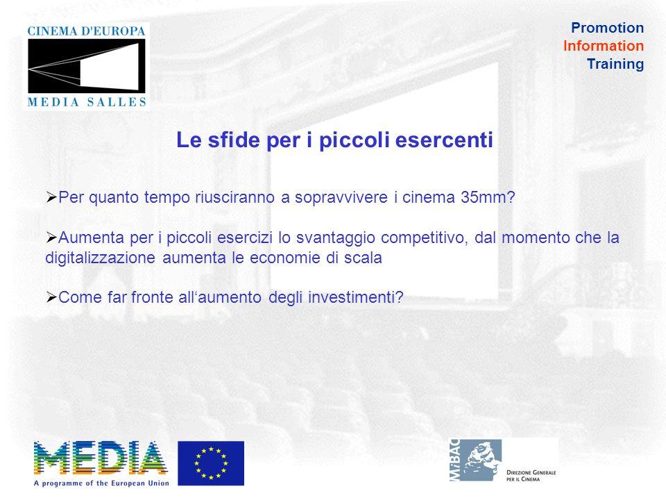 Promotion Information Training Se gli esercenti si rivolgono ai contenuti più remunerativi (ad esempio il 3D) i film europei avranno abbastanza spazio sullo schermo.