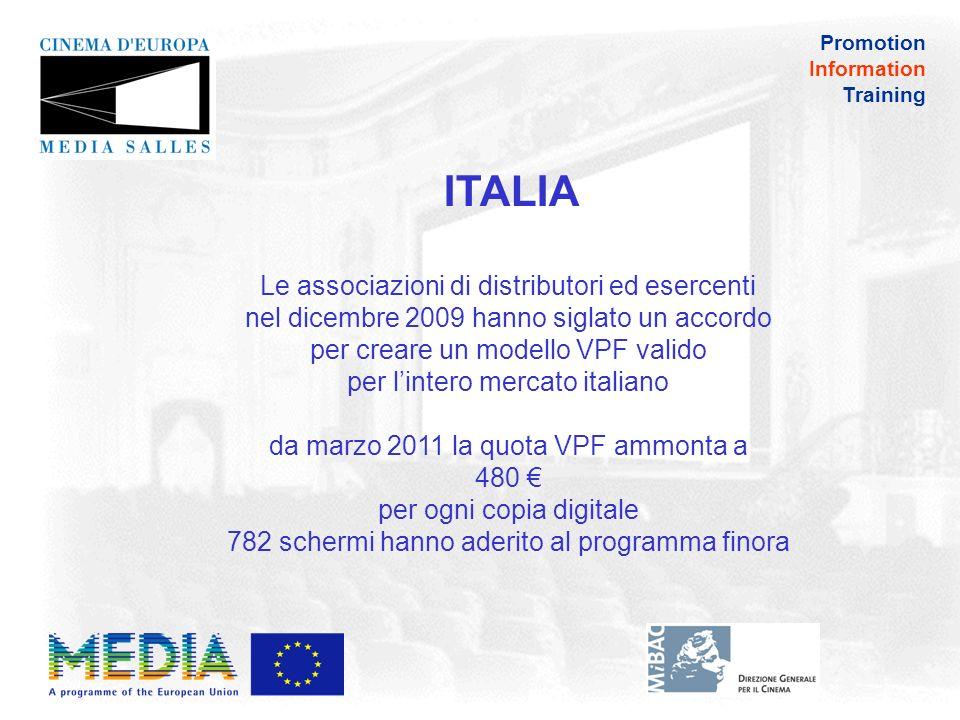 Promotion Information Training ITALIA Tax Credit di 50.000 per schermo disponibile fino al 31 dicembre 2013, (equivale al 30% dei costi totali), fino a un massimo di 200.000 per società il credito è legato allimpegno da parte di ciascun complesso a proiettare il 20% di film europei nel primo anno, il 30% nel secondo, il 50% nel terzo