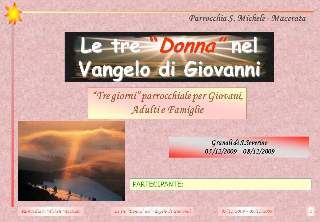 PARTECIPANTE: Granali di S.Severino 05/12/2009 – 08/12/2009 Parrocchia S. Michele - Macerata Tre giorni parrocchiale per Giovani, Adulti e Famiglie Pa