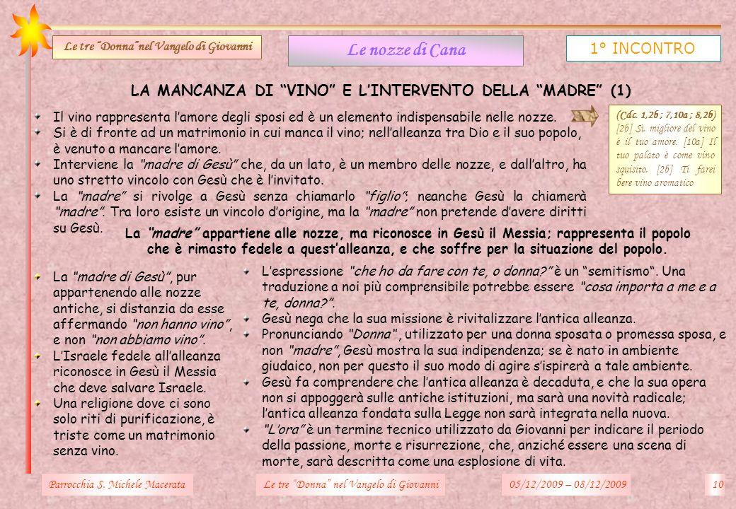 LA MANCANZA DI VINO E LINTERVENTO DELLA MADRE (1) Parrocchia S. Michele Macerata10Le tre Donna nel Vangelo di Giovanni Le nozze di Cana 1° INCONTRO Le