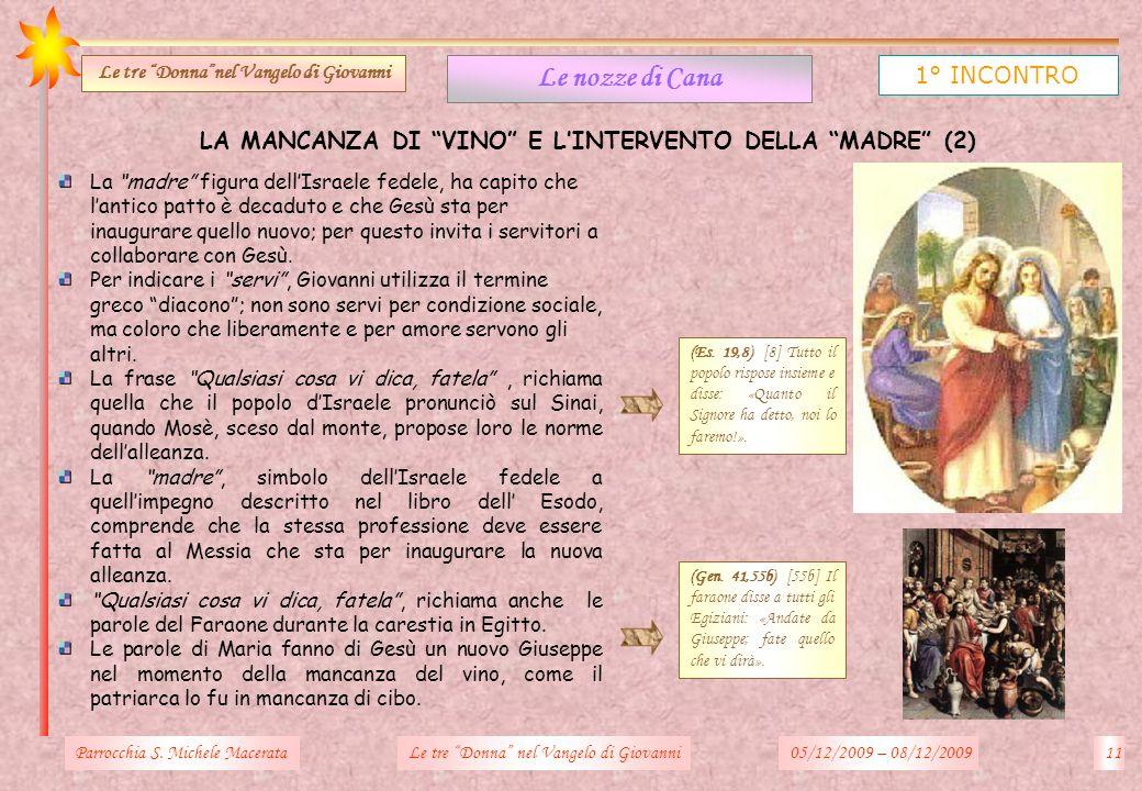 LA MANCANZA DI VINO E LINTERVENTO DELLA MADRE (2) Parrocchia S. Michele Macerata11Le tre Donna nel Vangelo di Giovanni Le nozze di Cana 1° INCONTRO Le