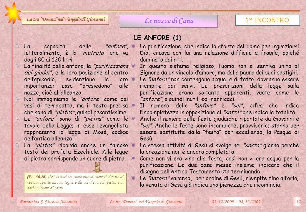 LE ANFORE (1) Parrocchia S. Michele Macerata12Le tre Donna nel Vangelo di Giovanni Le nozze di Cana 1° INCONTRO Le tre Donnanel Vangelo di Giovanni La