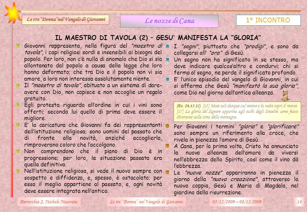 IL MAESTRO DI TAVOLA (2) – GESU MANIFESTA LA GLORIA Parrocchia S. Michele Macerata14Le tre Donna nel Vangelo di Giovanni Le nozze di Cana 1° INCONTRO