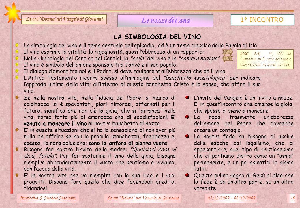 LA SIMBOLOGIA DEL VINO Parrocchia S. Michele Macerata16Le tre Donna nel Vangelo di Giovanni Le nozze di Cana 1° INCONTRO Le tre Donnanel Vangelo di Gi
