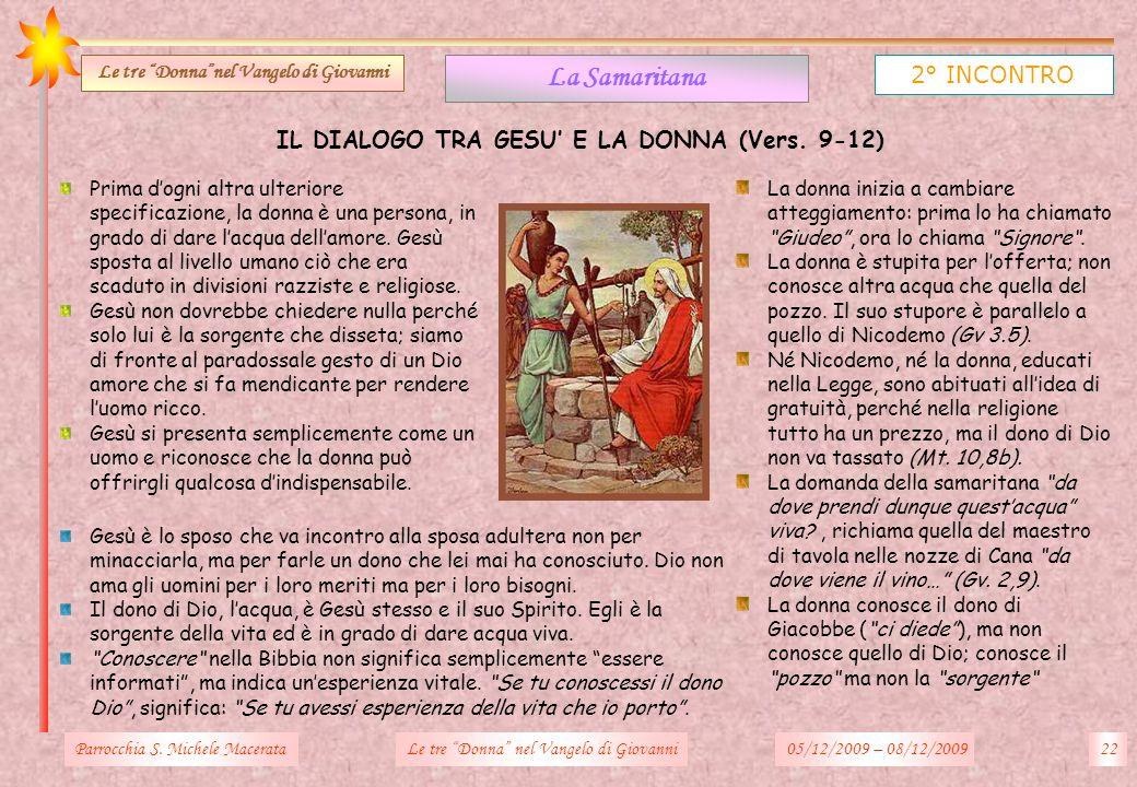 IL DIALOGO TRA GESU E LA DONNA (Vers. 9-12) Parrocchia S. Michele Macerata22Le tre Donna nel Vangelo di Giovanni La Samaritana 2° INCONTRO Le tre Donn