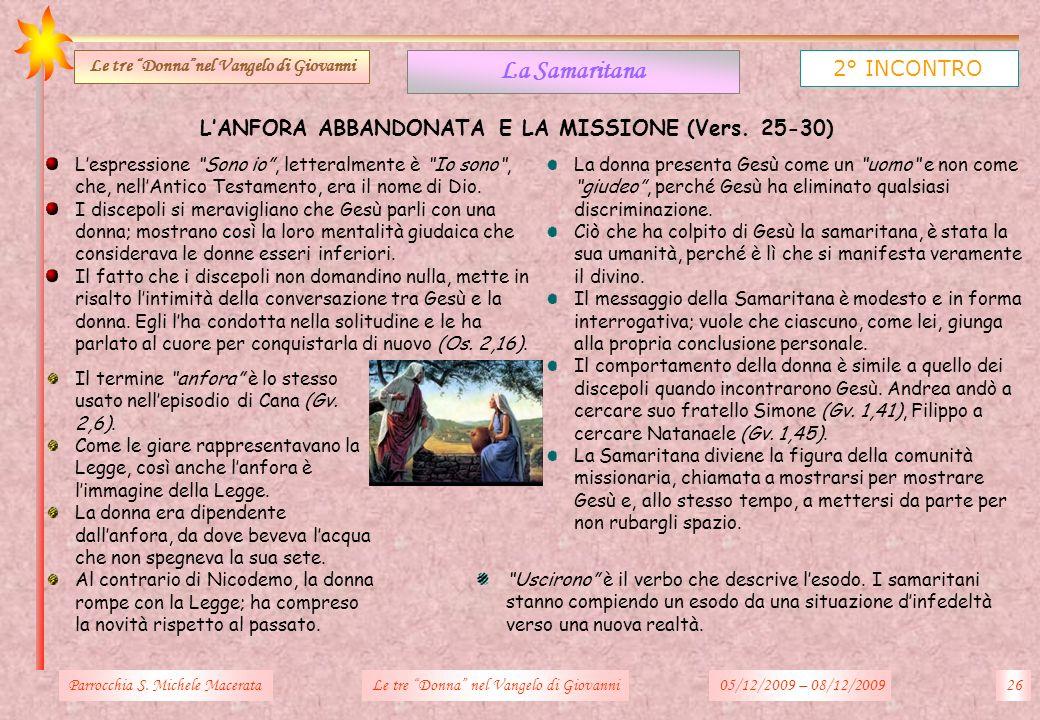 LANFORA ABBANDONATA E LA MISSIONE (Vers. 25-30) Parrocchia S. Michele Macerata26Le tre Donna nel Vangelo di Giovanni La Samaritana 2° INCONTRO Le tre