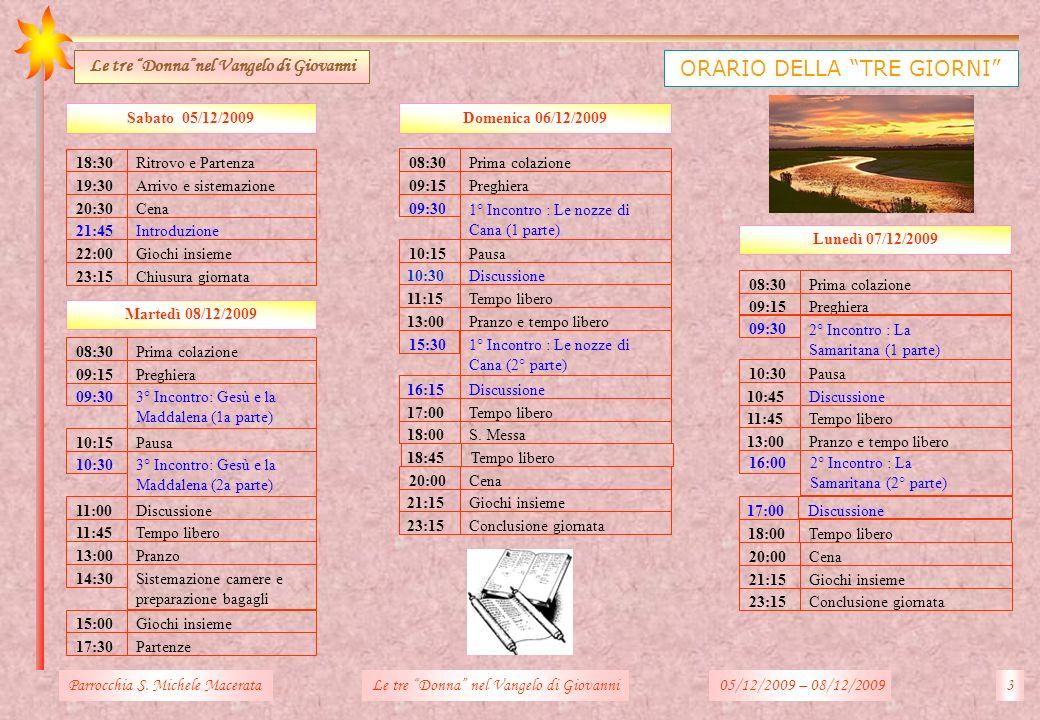 Domenica 06/12/2009 Martedì 08/12/2009 Prima colazione Preghiera 1° Incontro : Le nozze di Cana (1 parte) Pausa Discussione Tempo libero Pranzo e temp