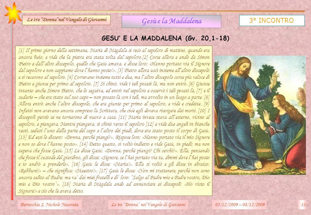 Parrocchia S. Michele Macerata33Le tre Donna nel Vangelo di Giovanni Gesù e la Maddalena 3° INCONTRO Le tre Donnanel Vangelo di Giovanni [1] Il primo