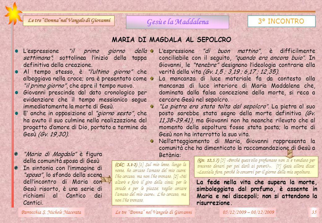 Parrocchia S. Michele Macerata35Le tre Donna nel Vangelo di Giovanni Gesù e la Maddalena 3° INCONTRO Le tre Donnanel Vangelo di Giovanni MARIA DI MAGD