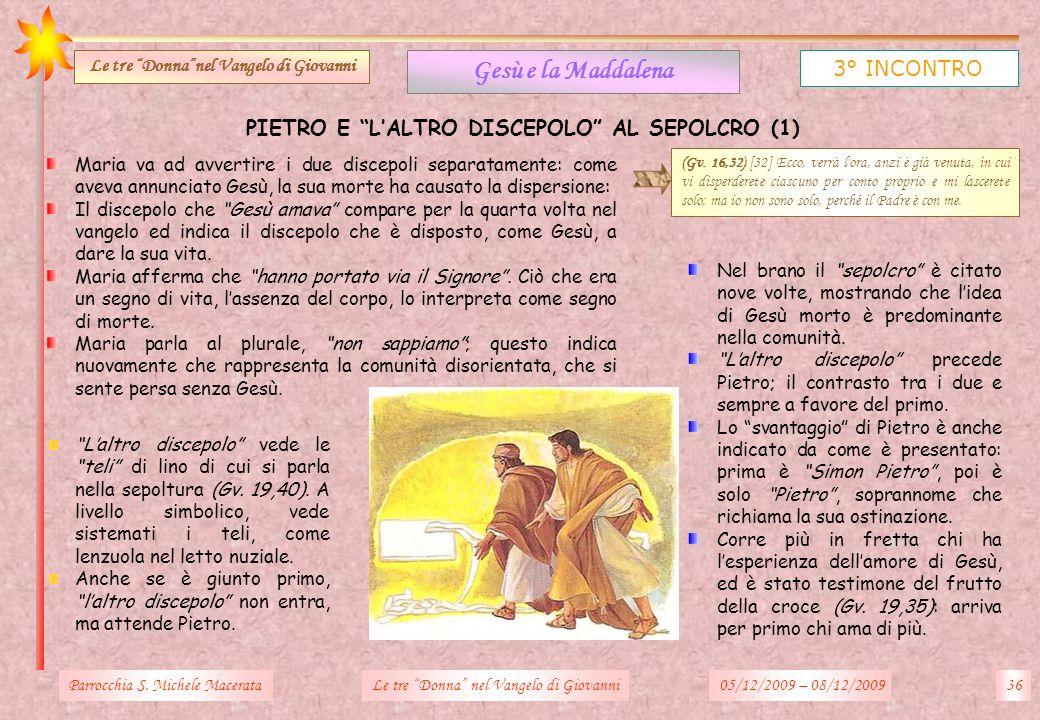 Parrocchia S. Michele Macerata36Le tre Donna nel Vangelo di Giovanni Gesù e la Maddalena 3° INCONTRO Le tre Donnanel Vangelo di Giovanni PIETRO E LALT