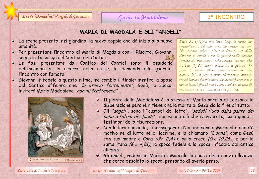 Parrocchia S. Michele Macerata38Le tre Donna nel Vangelo di Giovanni Gesù e la Maddalena 3° INCONTRO Le tre Donnanel Vangelo di Giovanni MARIA DI MAGD