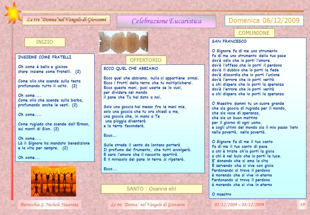 INIZIO SANTO : Osanna eh! OFFERTORIO Parrocchia S. Michele MacerataLe tre Donna nel Vangelo di Giovanni Celebrazione Eucaristica Domenica 06/12/2009 L