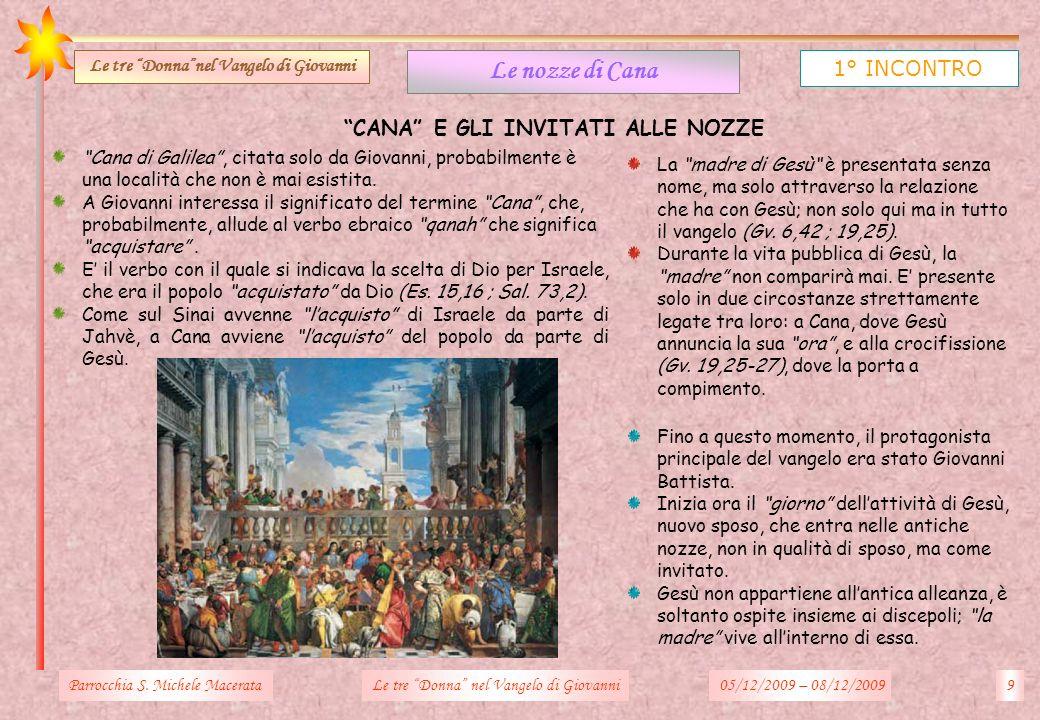 CANA E GLI INVITATI ALLE NOZZE Parrocchia S. Michele Macerata9Le tre Donna nel Vangelo di Giovanni Le nozze di Cana 1° INCONTRO Le tre Donnanel Vangel