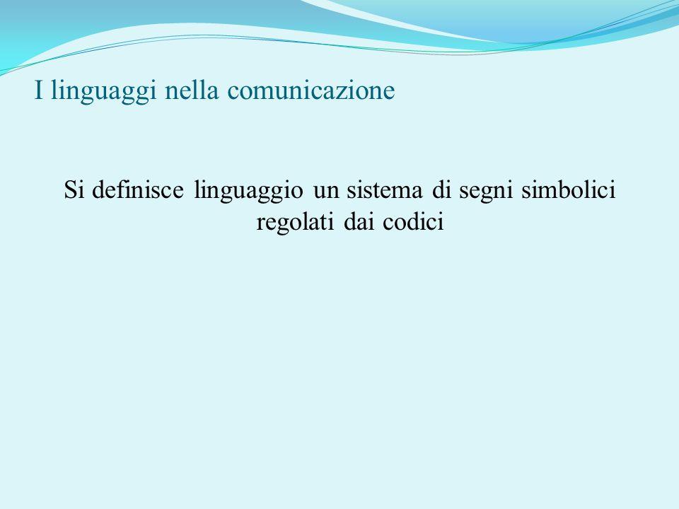 I linguaggi nella comunicazione Si definisce linguaggio un sistema di segni simbolici regolati dai codici