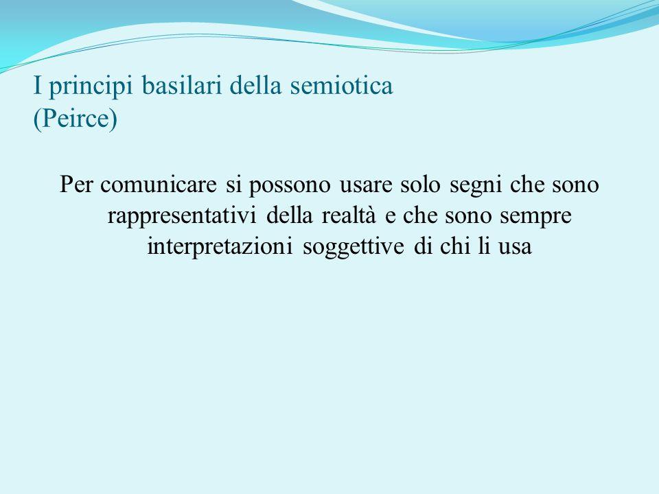 I principi basilari della semiotica (Peirce) Per comunicare si possono usare solo segni che sono rappresentativi della realtà e che sono sempre interp