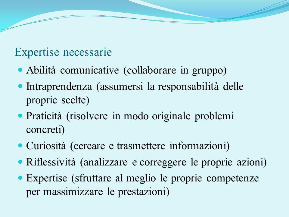 Expertise necessarie Abilità comunicative (collaborare in gruppo) Intraprendenza (assumersi la responsabilità delle proprie scelte) Praticità (risolve