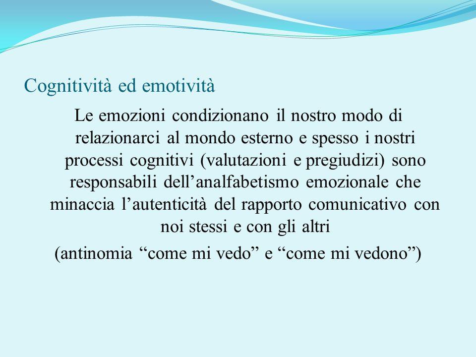 Cognitività ed emotività Le emozioni condizionano il nostro modo di relazionarci al mondo esterno e spesso i nostri processi cognitivi (valutazioni e