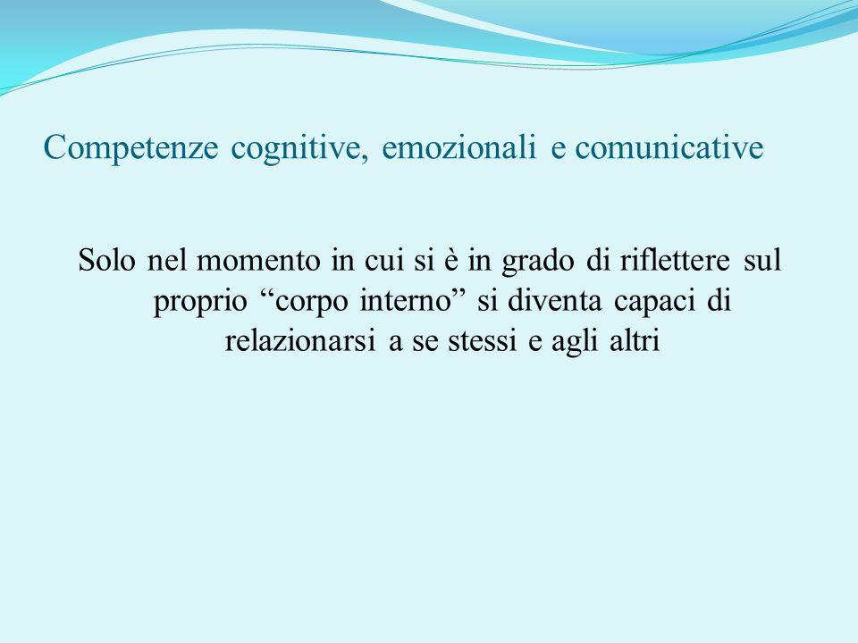 Competenze cognitive, emozionali e comunicative Solo nel momento in cui si è in grado di riflettere sul proprio corpo interno si diventa capaci di rel