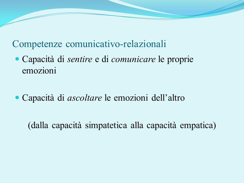 Competenze comunicativo-relazionali Capacità di sentire e di comunicare le proprie emozioni Capacità di ascoltare le emozioni dellaltro (dalla capacit