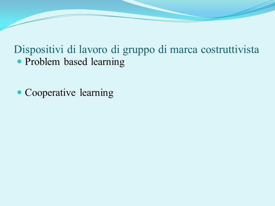 Dispositivi di lavoro di gruppo di marca costruttivista Problem based learning Cooperative learning