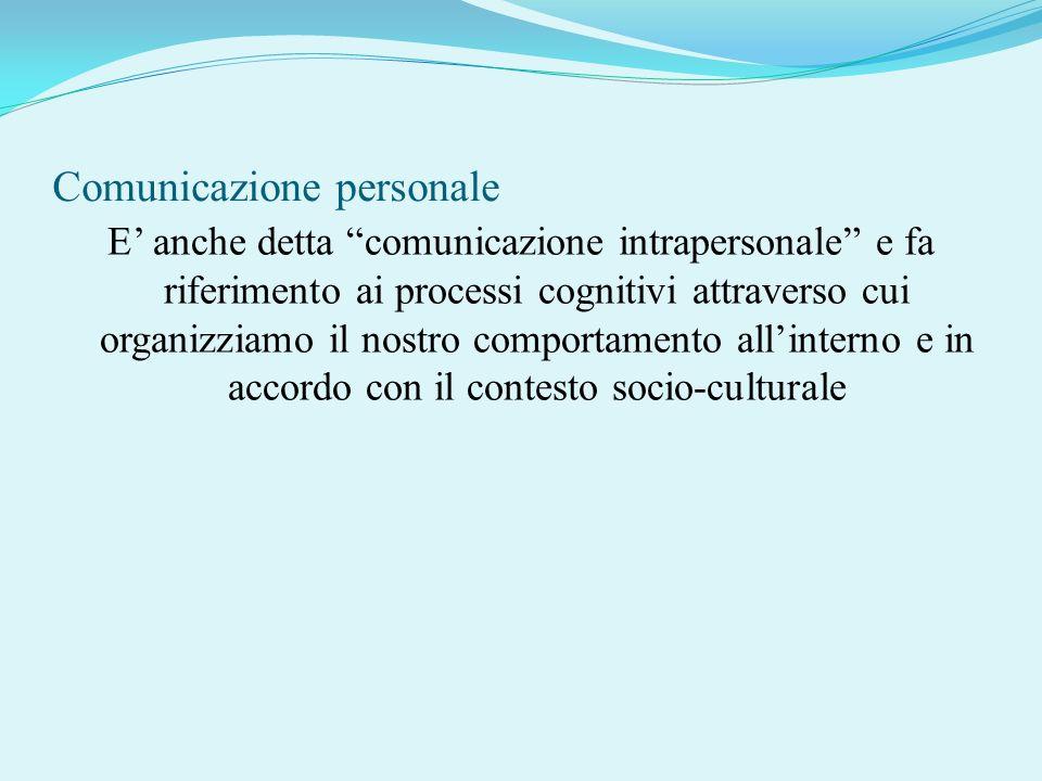 Comunicazione personale E anche detta comunicazione intrapersonale e fa riferimento ai processi cognitivi attraverso cui organizziamo il nostro compor