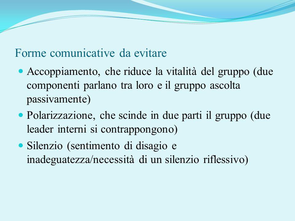 Forme comunicative da evitare Accoppiamento, che riduce la vitalità del gruppo (due componenti parlano tra loro e il gruppo ascolta passivamente) Pola