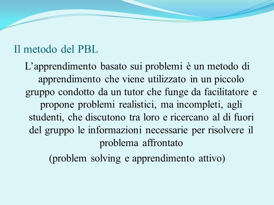 Il metodo del PBL Lapprendimento basato sui problemi è un metodo di apprendimento che viene utilizzato in un piccolo gruppo condotto da un tutor che f