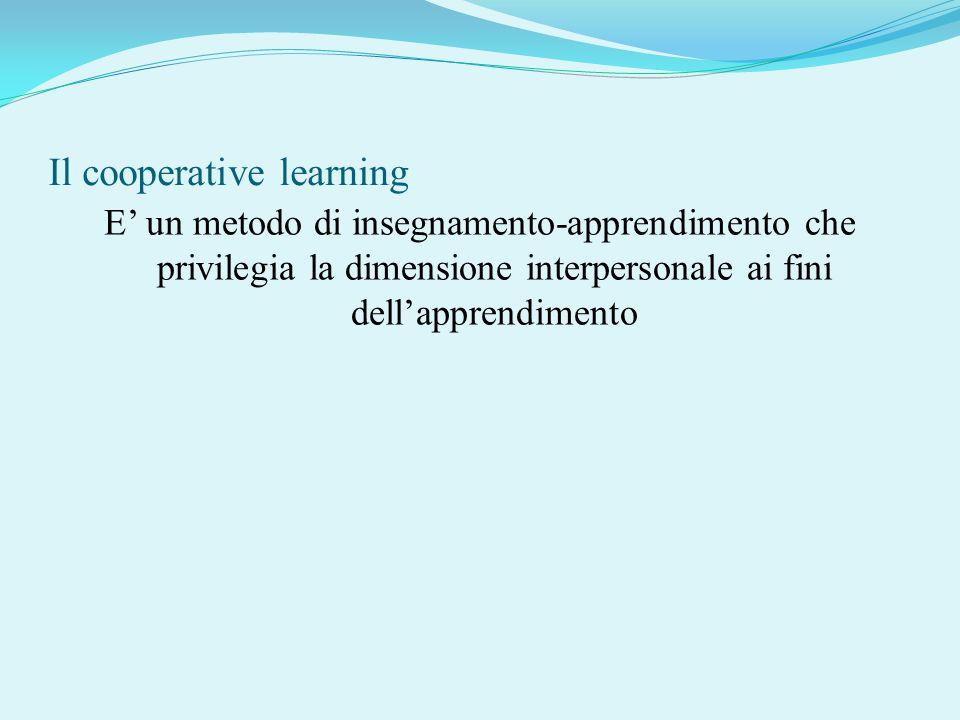 Il cooperative learning E un metodo di insegnamento-apprendimento che privilegia la dimensione interpersonale ai fini dellapprendimento