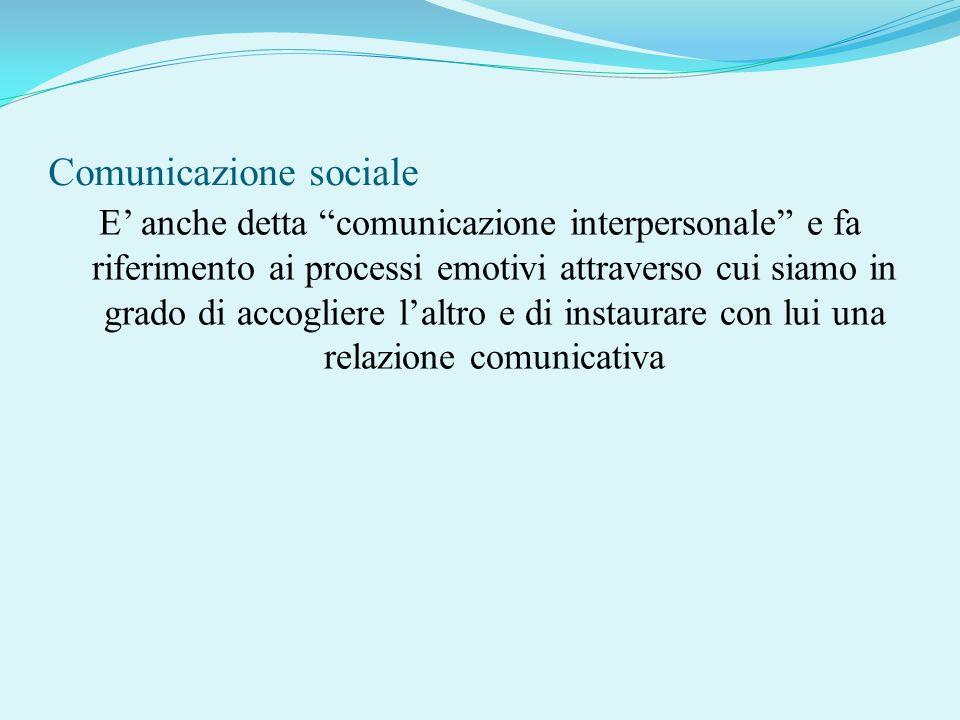 Comunicazione sociale E anche detta comunicazione interpersonale e fa riferimento ai processi emotivi attraverso cui siamo in grado di accogliere lalt
