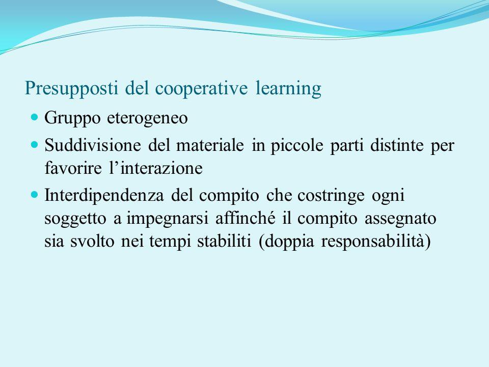 Presupposti del cooperative learning Gruppo eterogeneo Suddivisione del materiale in piccole parti distinte per favorire linterazione Interdipendenza