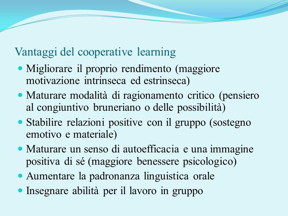 Vantaggi del cooperative learning Migliorare il proprio rendimento (maggiore motivazione intrinseca ed estrinseca) Maturare modalità di ragionamento c