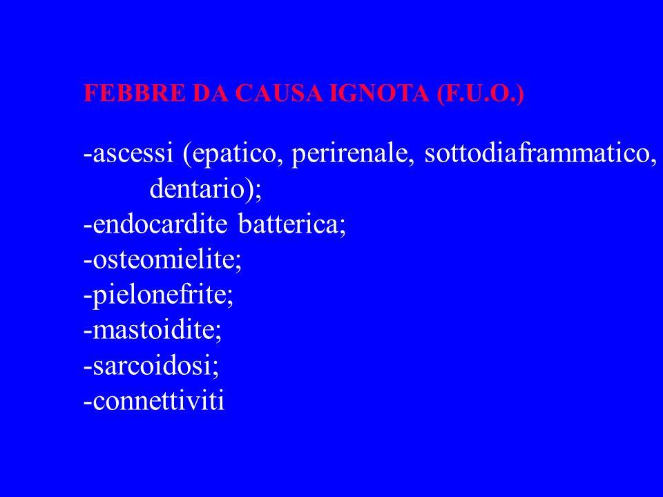 FEBBRE DA CAUSA IGNOTA (F.U.O.) -ascessi (epatico, perirenale, sottodiaframmatico, dentario); -endocardite batterica; -osteomielite; -pielonefrite; -m