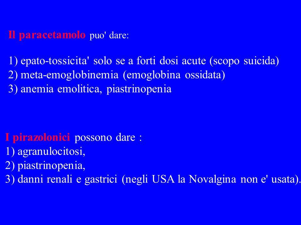 Il paracetamolo puo' dare: 1) epato-tossicita' solo se a forti dosi acute (scopo suicida) 2) meta-emoglobinemia (emoglobina ossidata) 3) anemia emolit